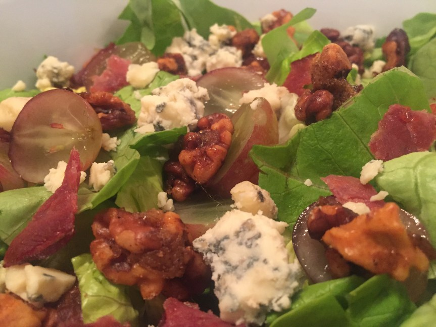 Roquefort Grape Spiced Walnut Salad