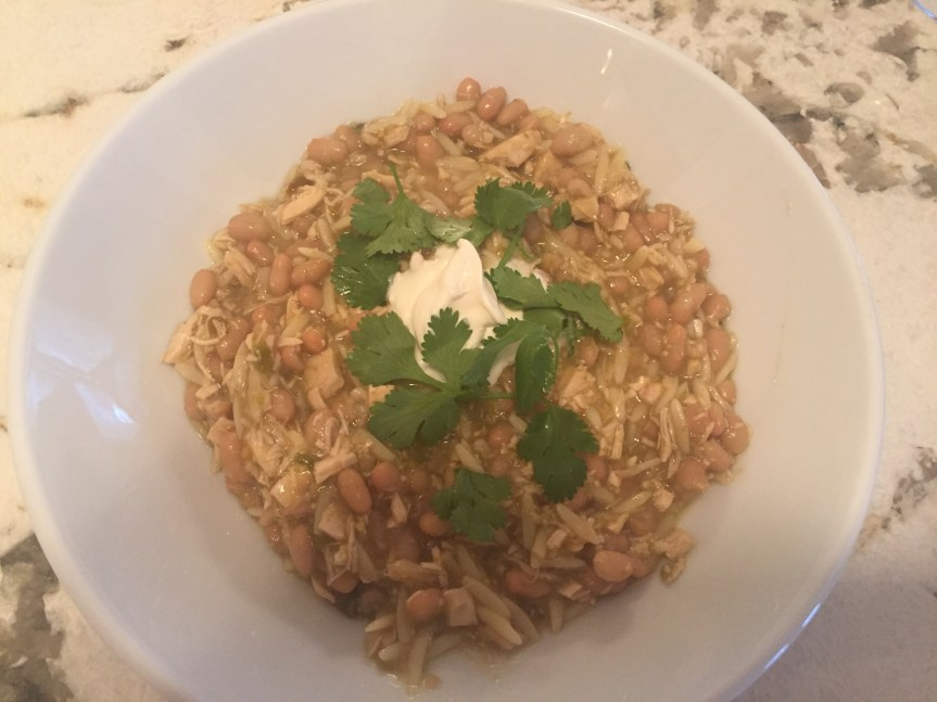 White Bean Chili with Rotisserie Chicken and Orzo