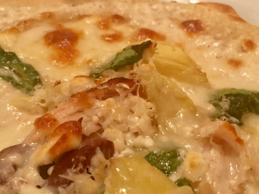 Tarte Flambe Pizza with Chicken, Olives, and Artichokes