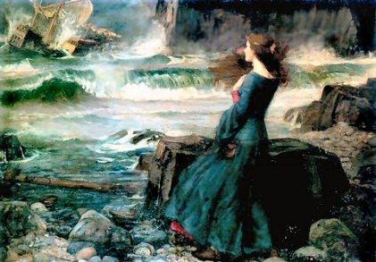 """Miranda rigardas la ship-rompaĵon (vrakon), pentrita en jaro 1916. En dramo """"La tempesto"""" de W.Shakespeare, Miranda estas unu el ĉefaj figuroj, la sola virino kiu aperas sur la scenejo. En sia infanaĝo, ŝi estis forpelita kun sia patro al insulo kaj pasigis tie multajn jarojn."""