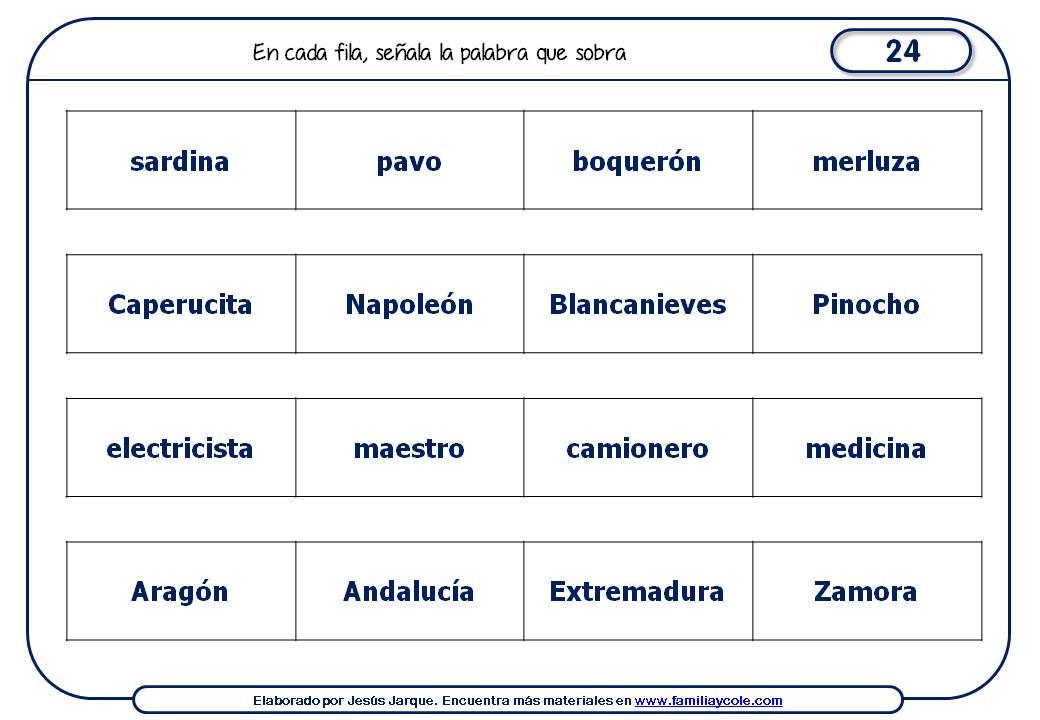 Fichas de razonamiento para niños con palabras