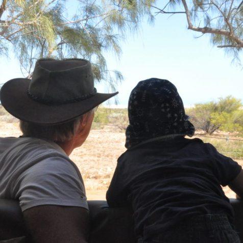 (C) Jule Reiselust: Ulli und Noah beobachten vom Camper aus die Tiere, die am Yardie Homestaed vorbeiziehen.