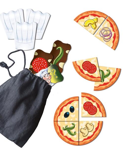 Oben links die Bestellungen und rechts die Pizzastücke. Das Bild stammt von der Abacusspiele Homepage.