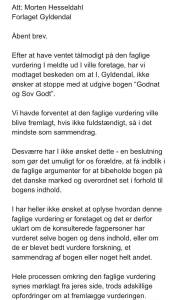 Billede af åbent brev til Gyldendal ang. Godnat og Sov Godt