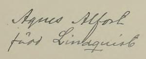 Agnes namnteckning när mannen dött 1907.