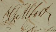 Carl Gustafs namnteckning 1824 när fadern dött.