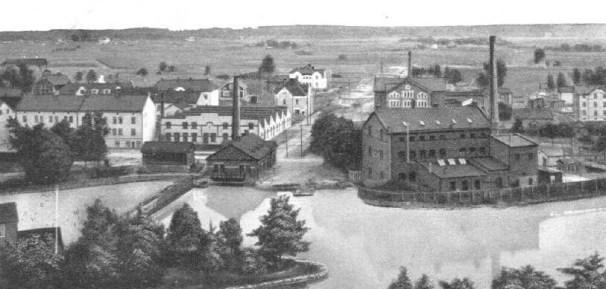 Stadsdelen Skebäck i Örebro där Alsnäs kakelfabrik låg. Inget av detta finns kvar.