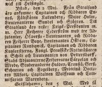 Dr Allfort på resa till Stralsund i fint sällskap. Inrikes Tidningar 12/5 1807.