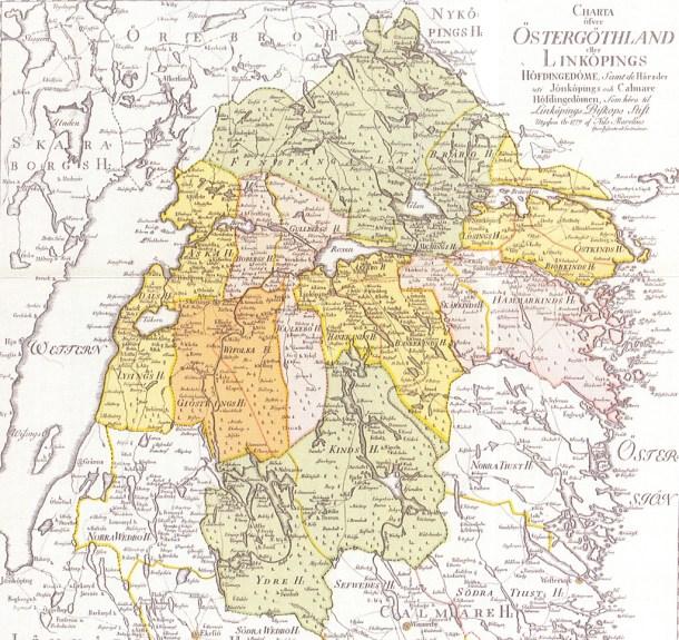 Liljeholmen finns med på denna karta från 1779. Läget på gränsen mellan två län och tre härad antyder hur avlägset det låg. 1866 överfördes Liljeholmen från Ydre till Göstrings Härad.