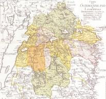 Liljeholmen finns med på denna karta från 1779. Belägenheten på gränsen mellan två län och tre härad antyder hur avlägset det låg. 1866 överfördes Liljeholmen från Ydre till Göstrings Härad.