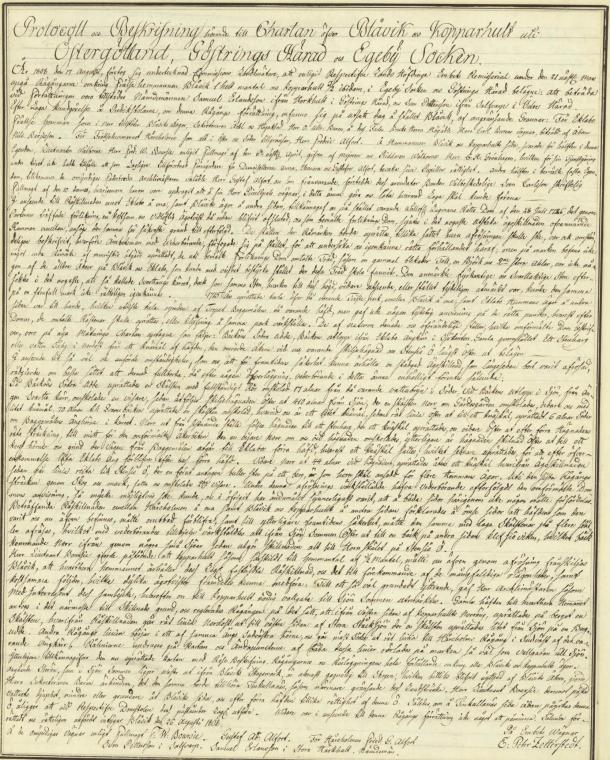 Lantmätning vid Blåvik 1808. Flickorna Alforts styvpappa har inte möjlighet att bevaka deras rätt då han är utskickad i Napoleonskriget. Lantmäteriet.