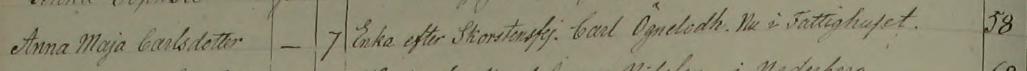 Anna Majas död 1851. Östra Tollstad församling.