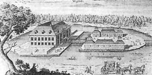 Vegeholm Slott på 1680-talet. Källa: algonet.se.