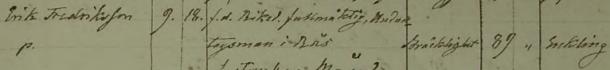 Erics död 1853. Säby församling.