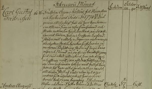 Gustafs död 1832. Säby församling.