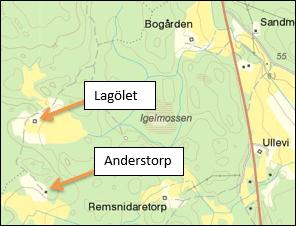 Gårdarna kring Lagölet och Anderstorp i V. Vingåker församling. Lantmäteriet.