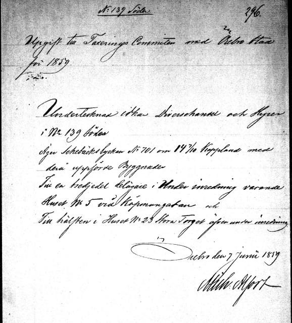Michaels tomter i Örebro 1859. Tomt no. 139 är nuvarande Drottninggatan 10.