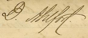 Davids namnteckning på brevet, 1887.