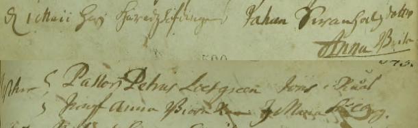 Anna Britas dop 1710. Vittnen: Pastor Petrus Loefgreen, Jöns i Råås, Jungf. Anna Biörnram, J. Maria Stålberg(?). Torpa församling.