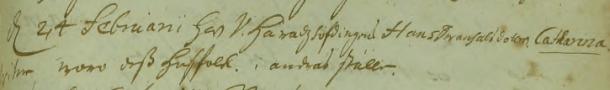 Catharina Christina Svanhals dop 1708. Wittnen woro dess husfolk i andras ställe. Torpa församling.