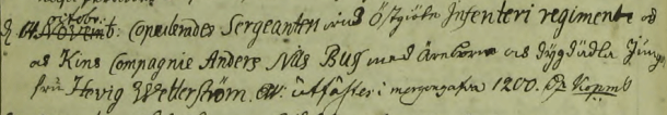 Hedvig Wetterström och Ander Buss bröllop 1762. Malexander församling.