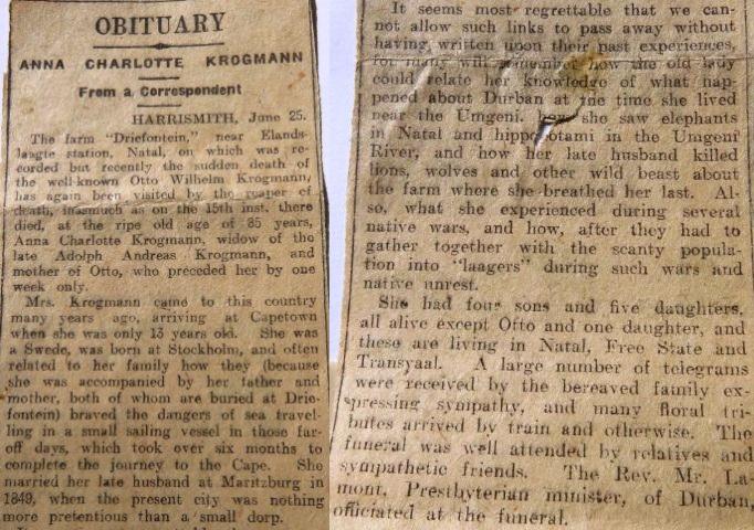 Anna Charlottas obituary 1916. Kindly provided by Chris-Marié Wessels.