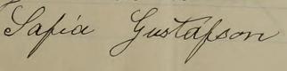 Sofias namnteckning 1914 när mannen gått bort.