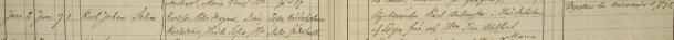 Karl Johan Selims dop 1878 noteras både i Blåvik och Malexander. Vittnen: Kyrkovärden Karl Andersson i Hårdaholmen af Torpa förs. och Hun Troi Ahlfort. Blåvik församling.
