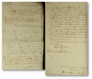 Maria Catharinas brev till myndigheterna. Adelns bouppteckningar, Göta Hovrätt 1754. Förmodligen ett avskrift av originalet. Det felstavade efternamnet kan sålunda vara sekreterarens fel.