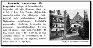 Gammal reklam för Romanäs sanatorium. Vimeo.com.