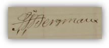 Sven Johan Bergmans namteckning när hustrun dog 1865.