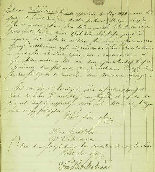 Inbördes testamentet mellan Johan Fredric Rudebeck och hans andra hustru som ålägger henne att betala arven efter första hustrun till fosterdottern Jenny Wilhelmina, men låter henne bo kvar i oskiftat bo.