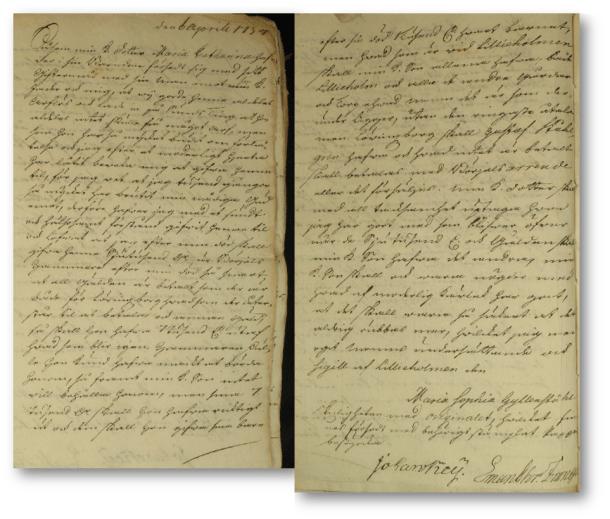 Samtidig avskrift av Maria Sophia Ahlforts testamente. Adelns bouppteckningar, Göta Hovrätt 1754.
