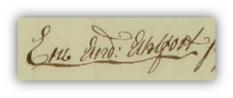 Eric Anders' namnteckning på bouppteckningen efter hans mamma Anna Brita Wetterström 1770.