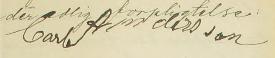 Carls namnteckning när hustrun dör 1898.