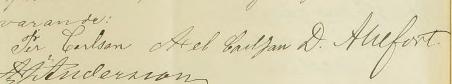 Sönernas namnteckningar när deras mamma dör 1898.