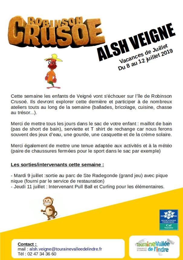 flyer vacances Alsh Veigné semaine 1 juillet