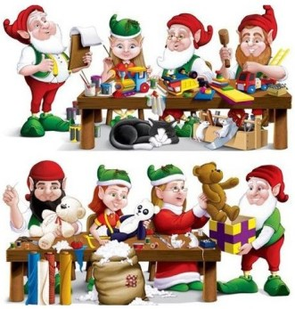 les elfes et lutins dans l'atelier du pére noel