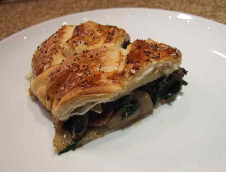This impressive vegetarian main course is very easy to make. The puff pastry plait encloses a satisfying & nutritious mushroom and spinach filling.