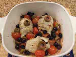 haddock baked with olives and tomatoes