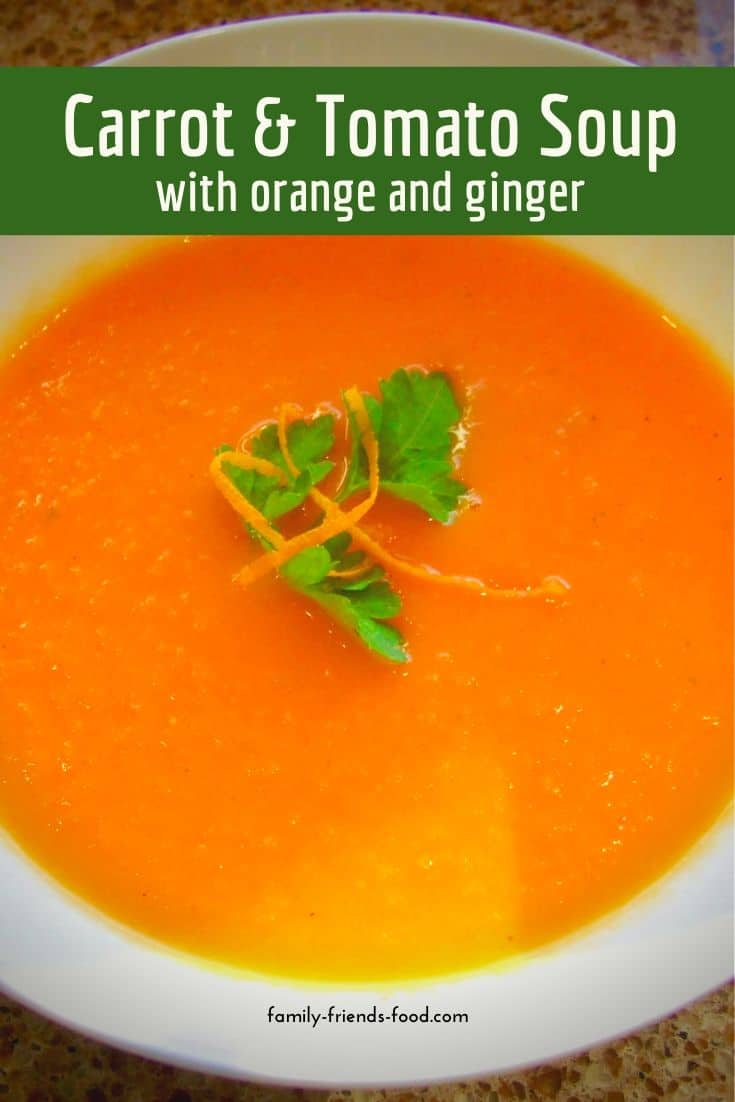 This soothing vegan carrot and tomato soup is enlivened with zesty orange and warming ginger. A perfect pick-me-up for lunch or dinner.