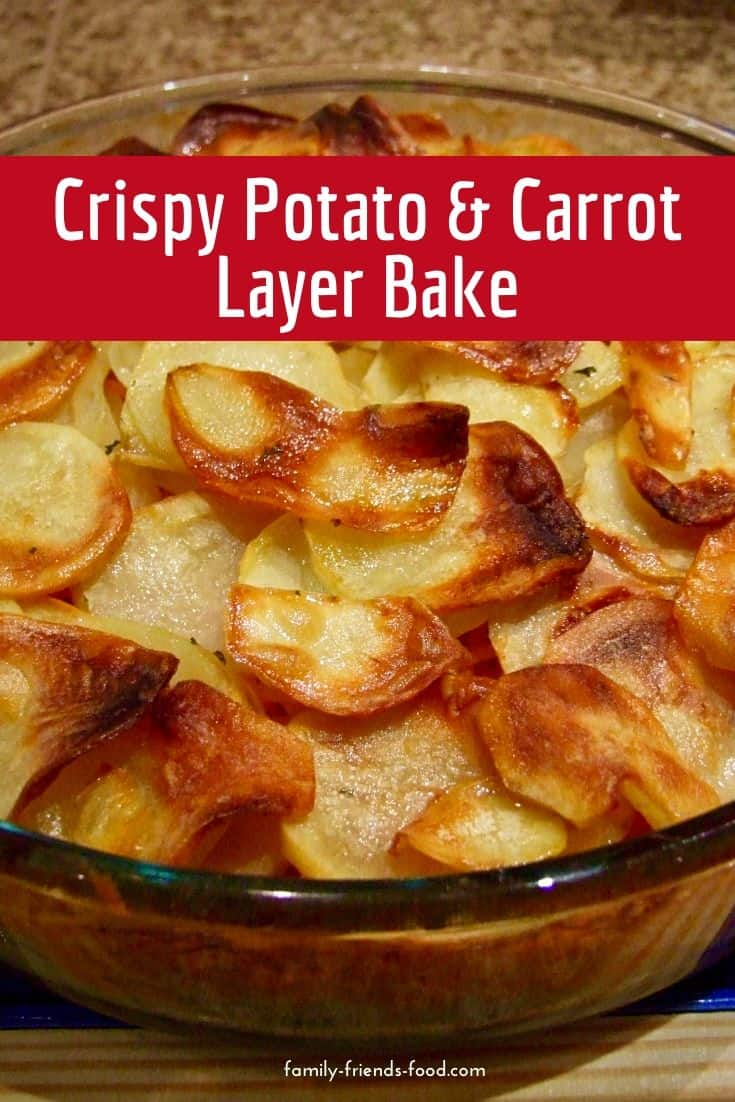 An easy potato and carrot layer bake which makes a tasty and satisfying side dish the whole family will enjoy. Dairy and gluten free, and vegan!
