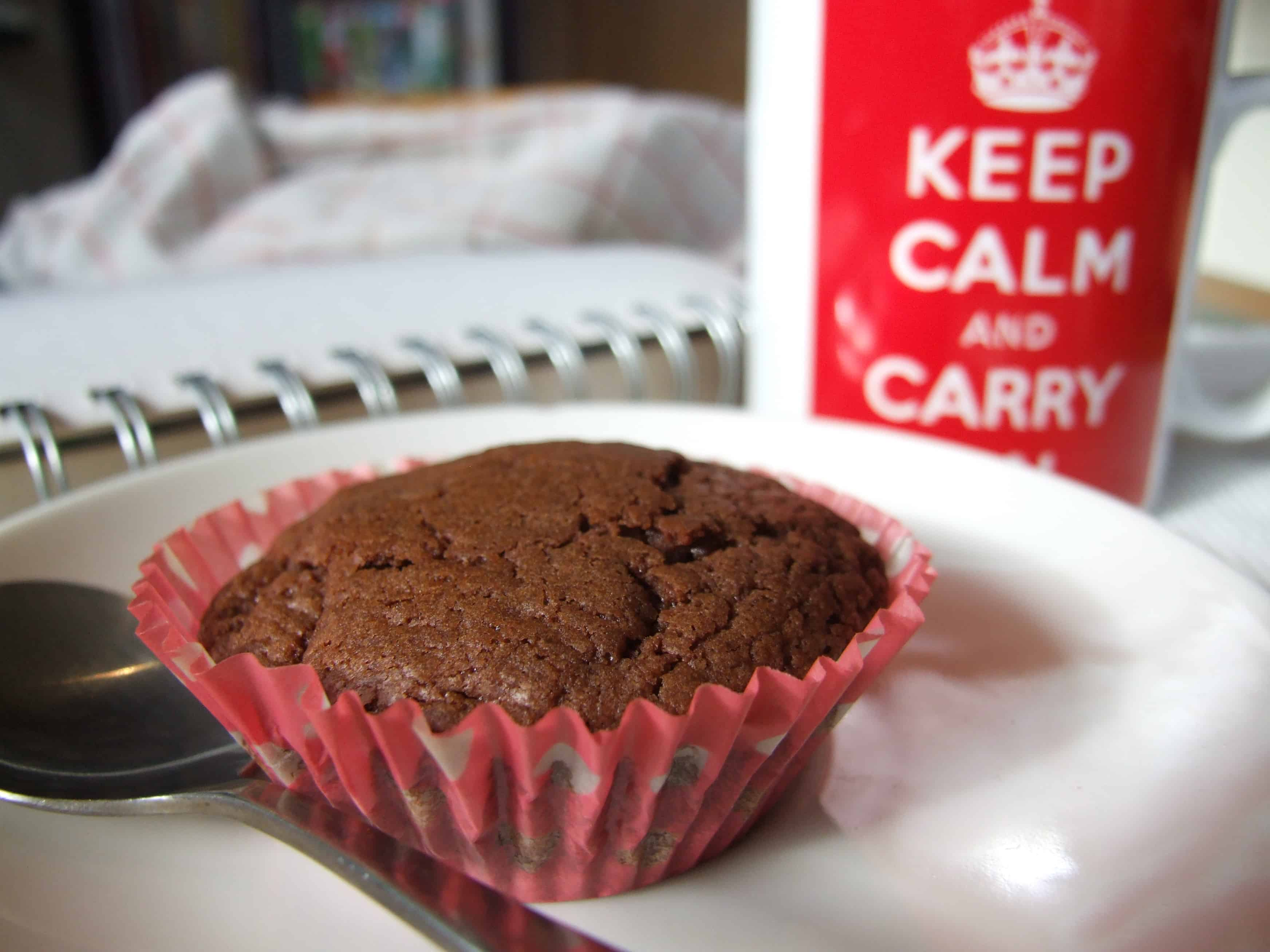 Nutella cupcakes only 3 ingredients family friends food nutella cupcake with a mug of tea forumfinder Choice Image