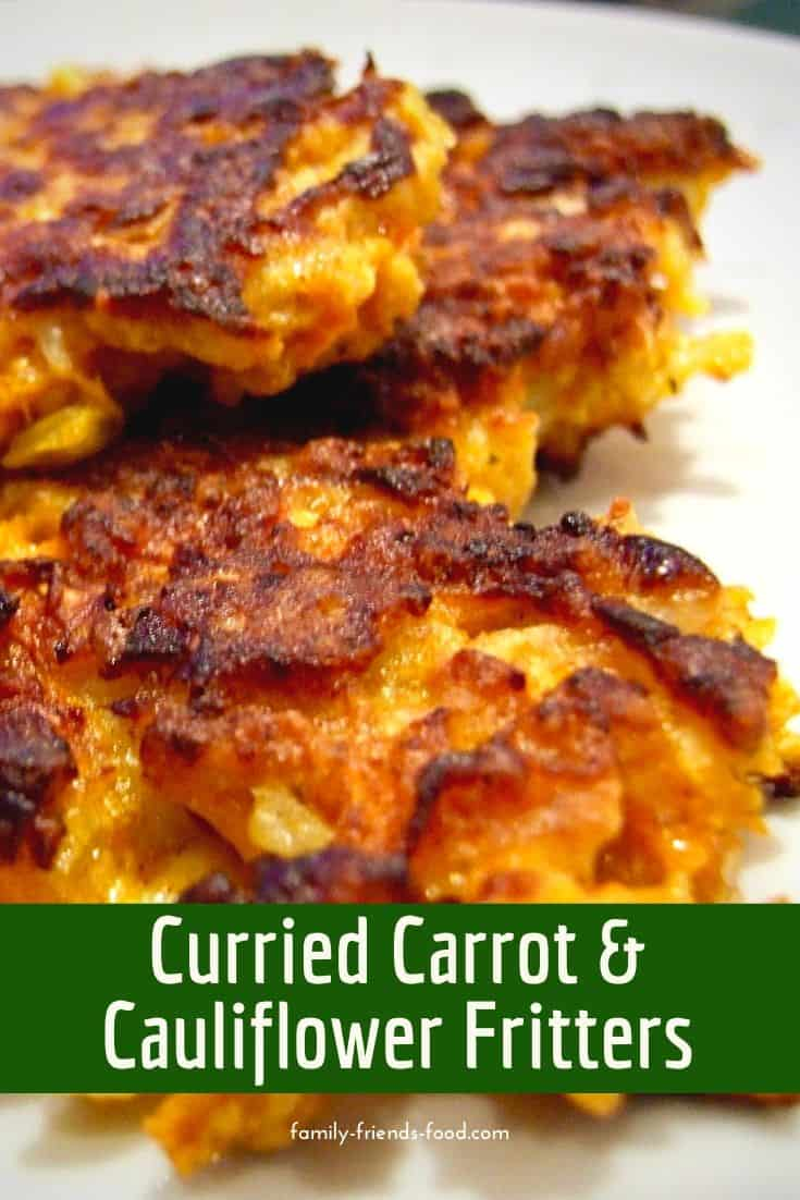 Simple and gently spiced, these easy to make curried cauliflower and carrot fritters are a delicious light meal, or a substantial snack or starter.