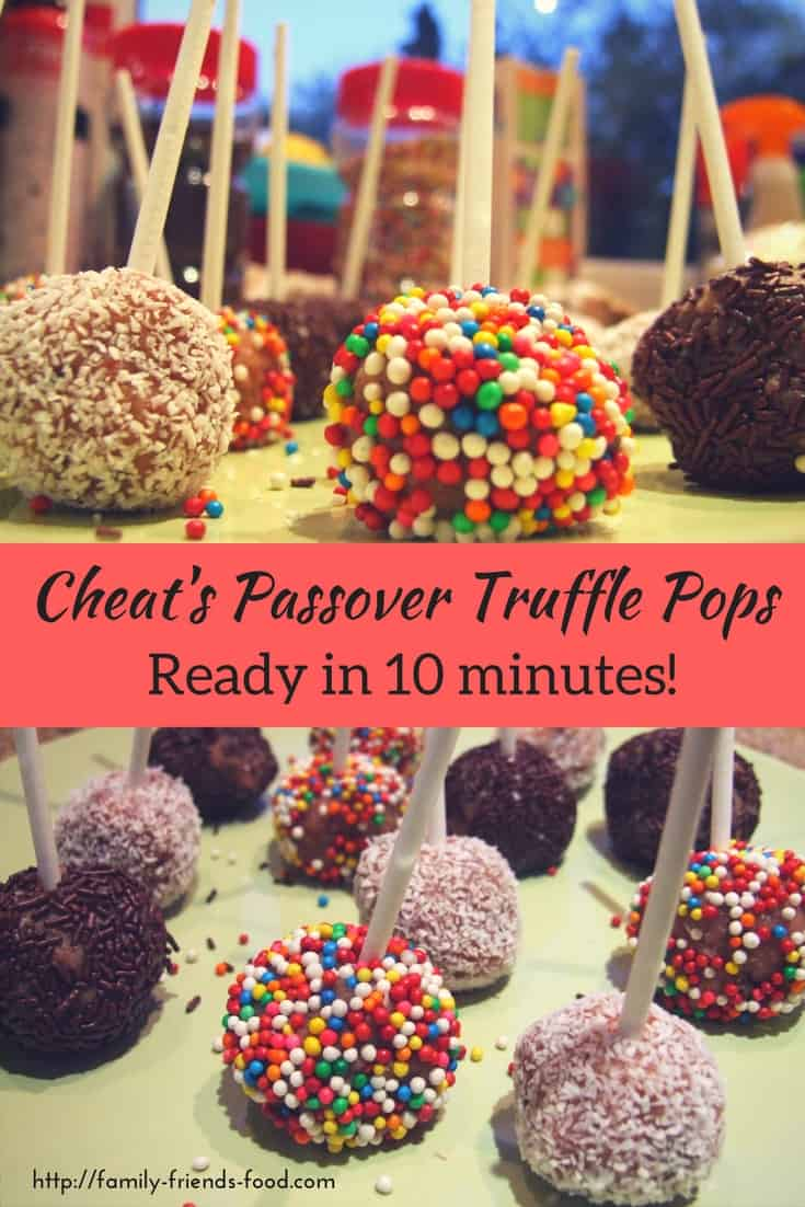 Dead easy, super quick, and with sprinkles and a stick, kids will go wild for them! These cheat's cake pops make shop-bought Pesach cake edible! Hurrah!
