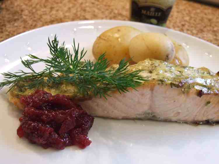 Scandi-style salmon with lingonberry sauce and potatoes