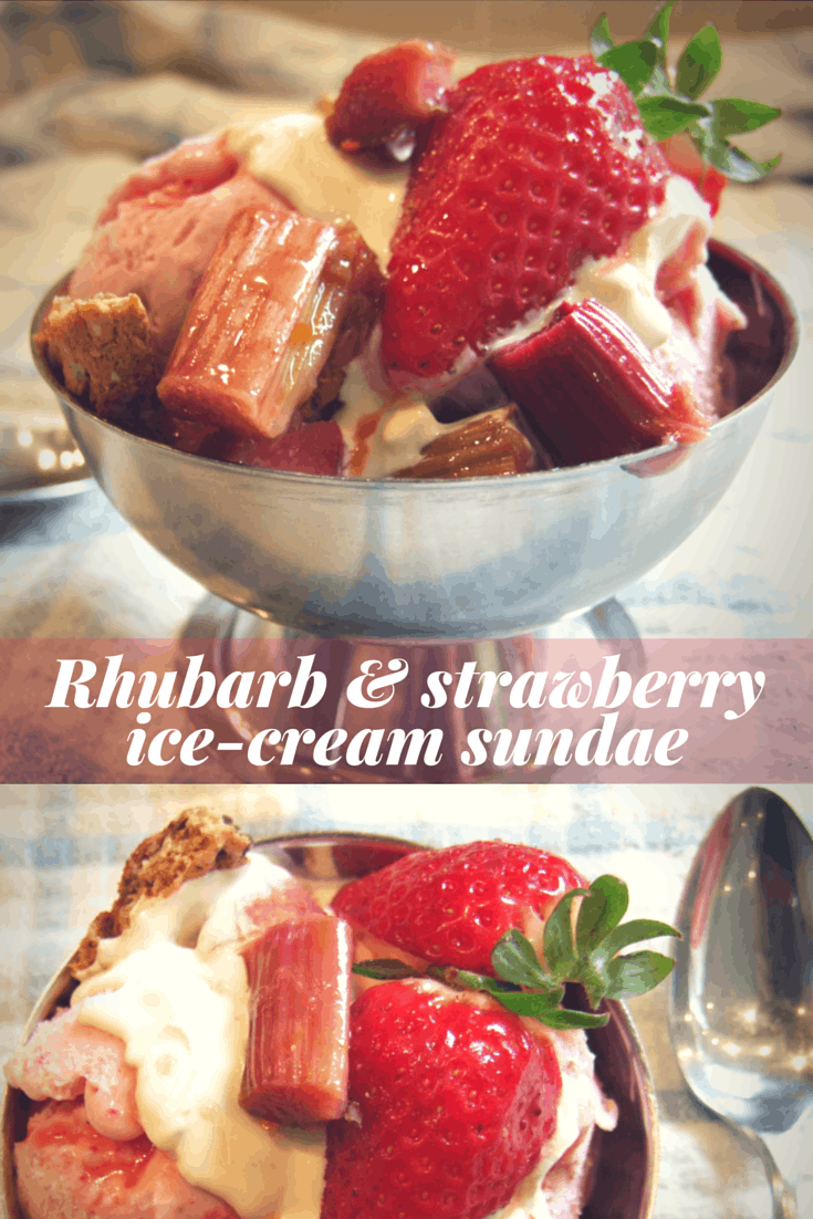 Zingy rhubarb, fresh strawberry ice-cream, oaty biscuit chunks & a dollop of cream - top with strawberries for the perfect indulgent springtime dessert.
