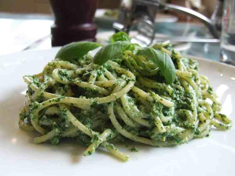 Spaghetti with spinach artichoke pesto.