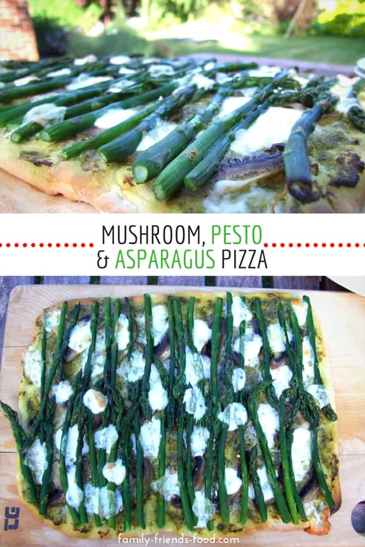 A thin & crispy homemade crust, gorgeous basil pesto, sliced mushrooms and fresh summery asparagus spears take your asparagus pizza to the next level! Perfect for al fresco eating.