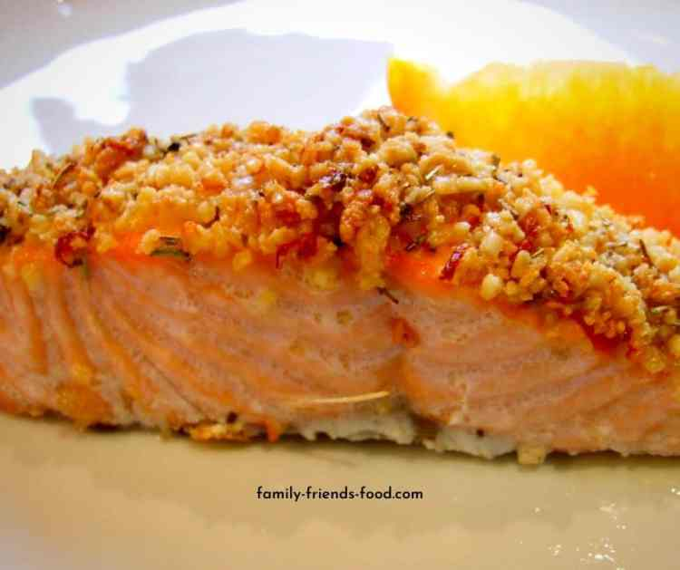 salmon with pine nut crust.